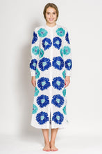 Laden Sie das Bild in den Galerie-Viewer, Golden Eye Kaftan - blue 3: Sommerkleid Baumwolle