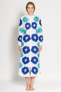 Golden Eye Kaftan - blue 3: Sommerkleid Baumwolle