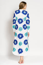 Laden Sie das Bild in den Galerie-Viewer, Golden Eye Kaftan - blue b: Sommerkleid Baumwolle