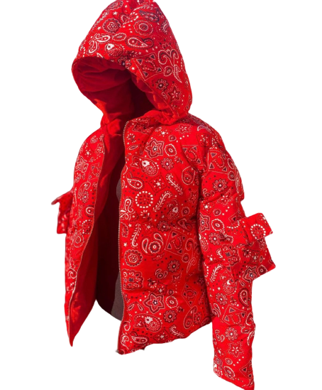 RED REVERSIBLE VELVET PAISLEY COAT