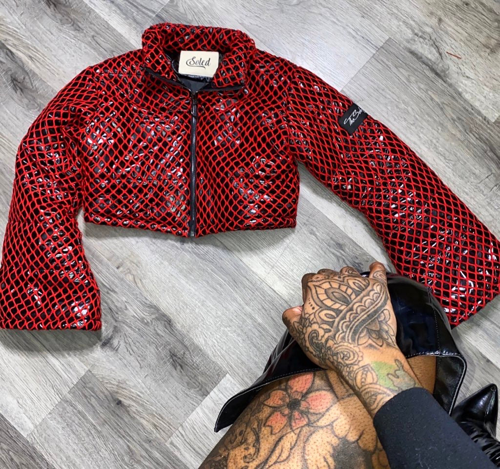"""Tied Up"" Red Crop Puffer Jacket"