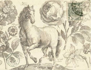 Botanical Equine decoupage paper by Roycycled Treasures