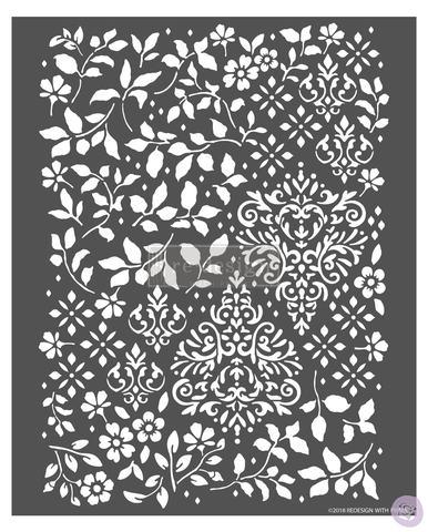 Redesign Stencil Leaves Damask