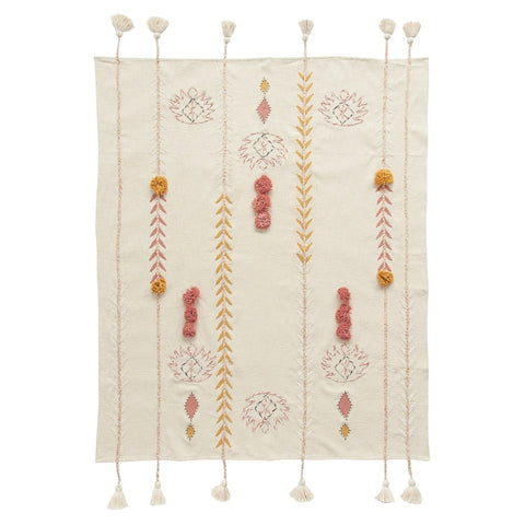 Embroidered Cream Throw with Tassels