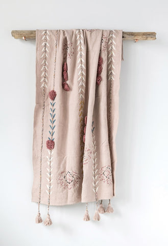 Embroidered Dusty Rose Throw with Tassels
