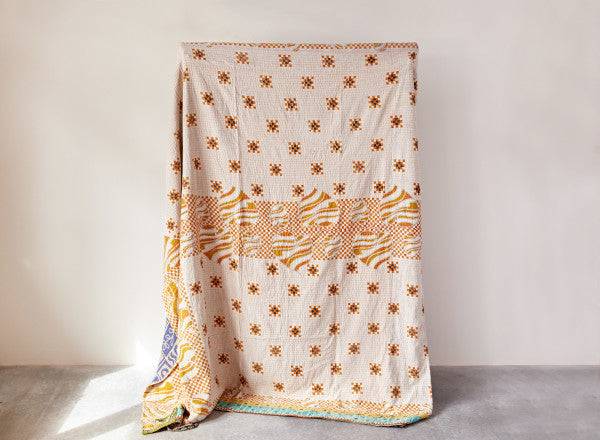 Vintage Kantha Quilt Coverlet (each one will vary)