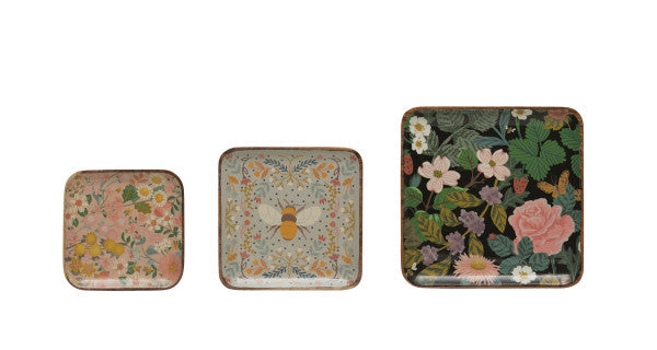 Enameled Wood Trays with Florals and Bees