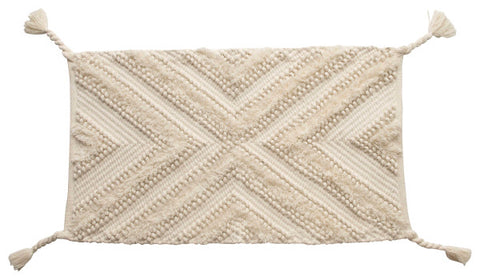 Woven Cotton Textured Rug with Tassels