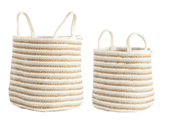 Braided Cotton and Jute Baskets (set of 2)