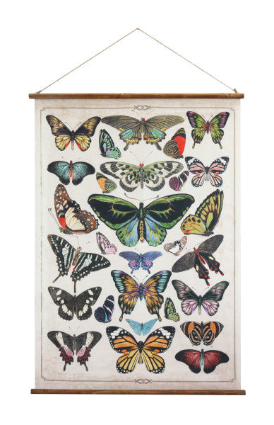 Butterflies Burlap and Wood Wall Hanging
