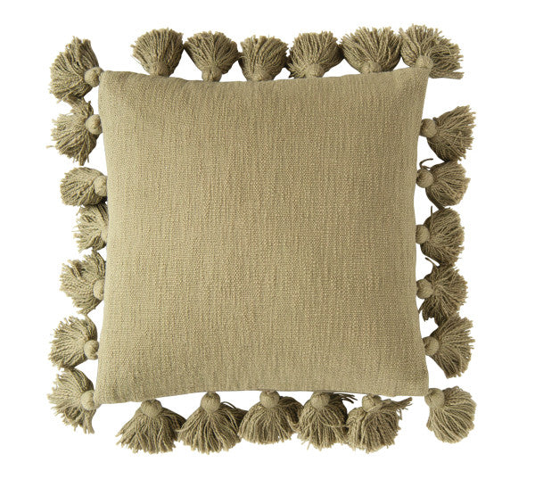 Olive Cotton Slub Pillow with Tassels