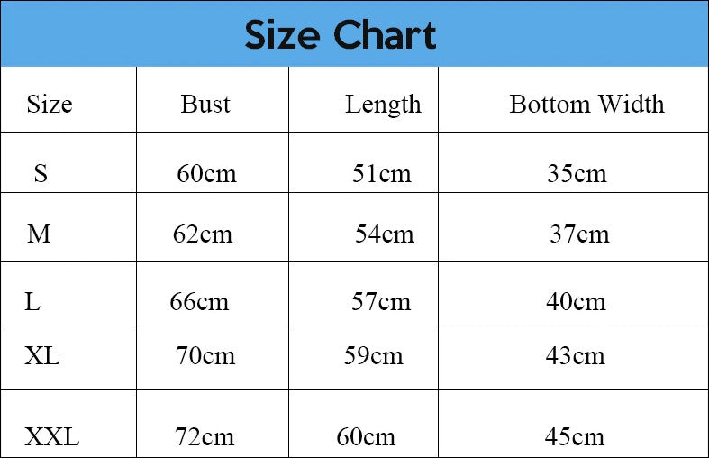 Camisole Body Shaper Size Chart