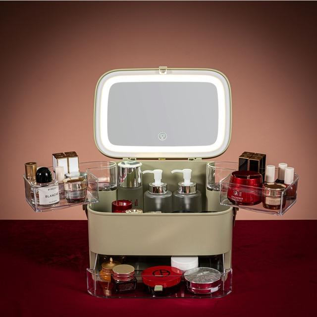 Makeup Organizer With Led Mirror