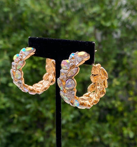 Small crystal gold hoops