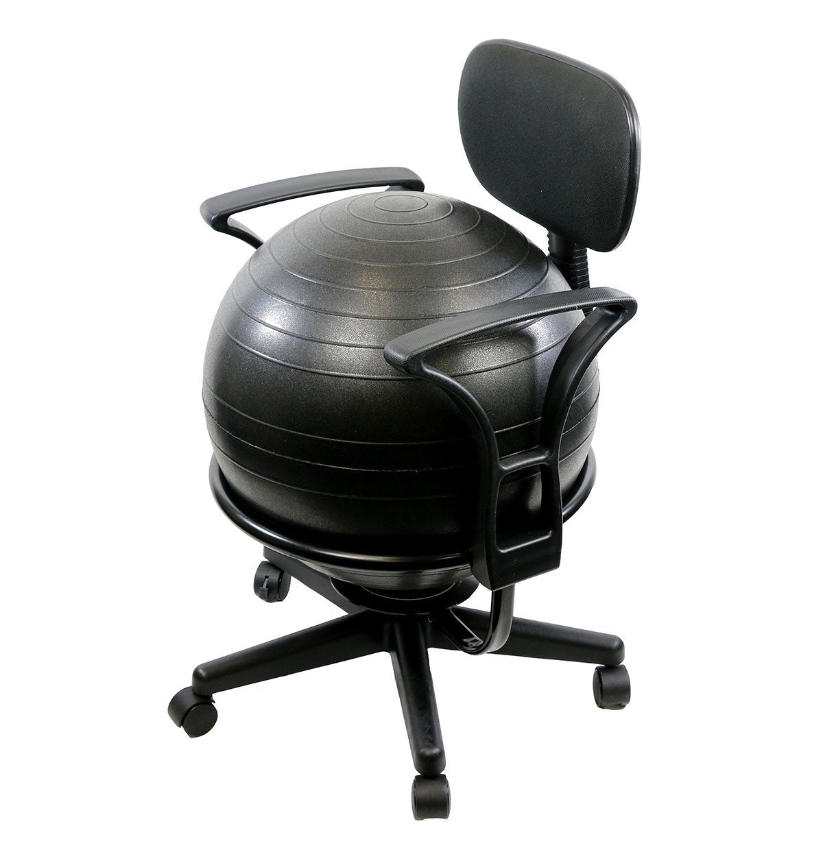 "CanDo® Ball Chair - Metal - Mobile - with Back - with Arms - with 18"" Ball - US MED REHAB"