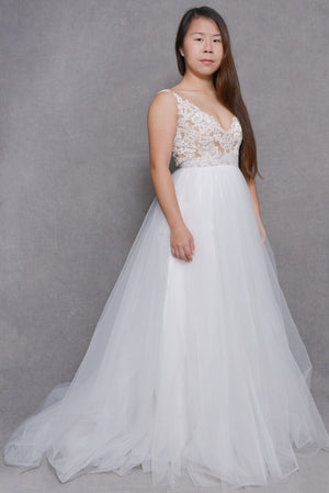 A-Line V-Neck Court-Train Wedding Dress | Lilac | LilacBridal