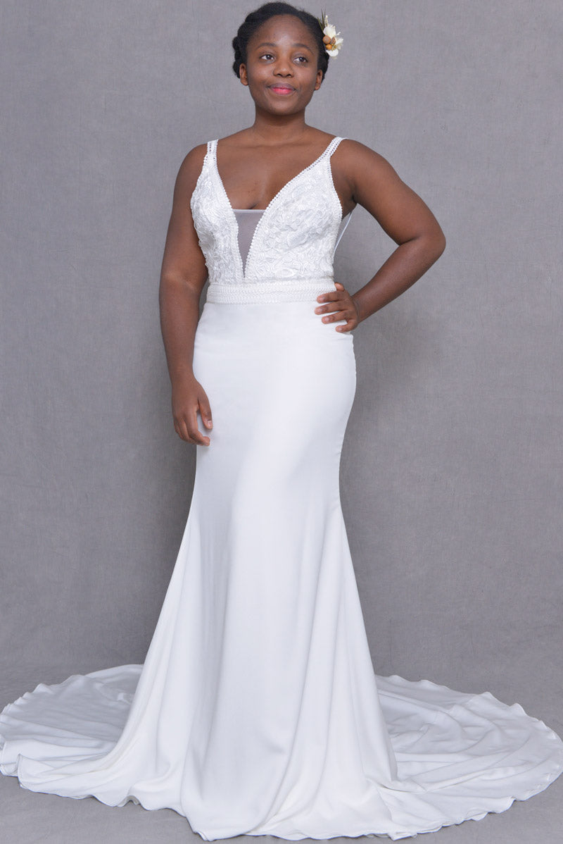 Deep-V Open-Back Crepe Wedding-Dress | Kelly | LilacBridal