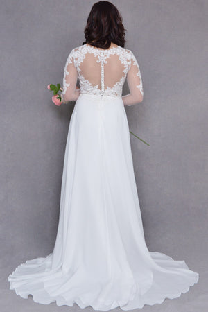 Heart Shaped Illusion Back Wedding Dress | Rosie | LilacBridal