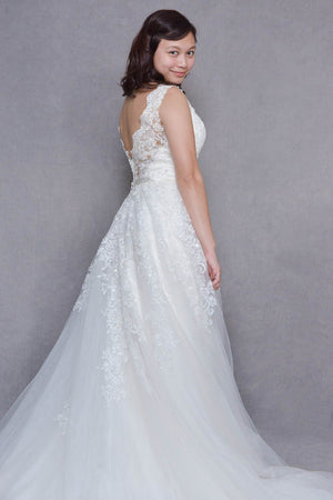 A-Line Chapel-Train Open-Back Wedding Dress | Michela | LilacBridal
