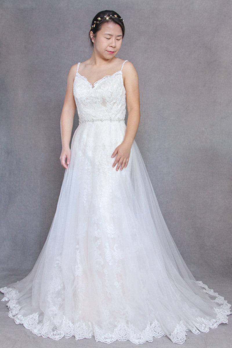 spaghetti strap overskirt wedding dress hadley