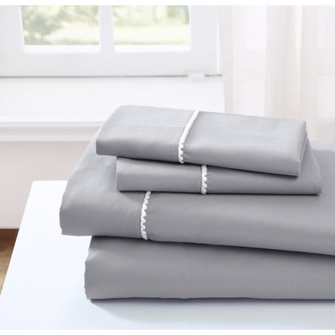 Spirit Linen Home Bed Sheets Set 4PC Pom Pom Sweet Dream Ultra Soft Microfiber Sheet Set with Fitted Sheet Flat Sheet Pillowcases