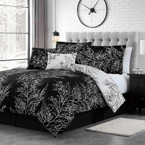 Black Ivory Foliage Reversible Comforter Set + Two Free Sham Pillows - Spirit Linen