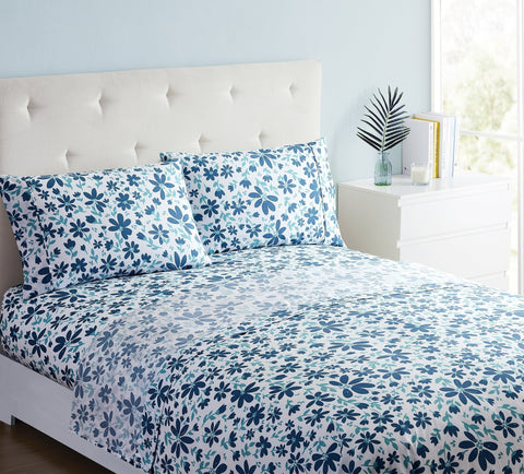 """Blue leaves"" Amsterdam Exclusive Bed Sheets - Spirit Linen"