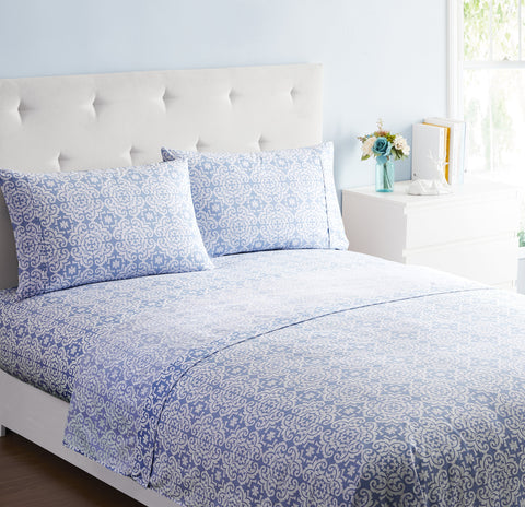 """Blue Medallion"" Amsterdam Exclusive Bed Sheets - Spirit Linen"