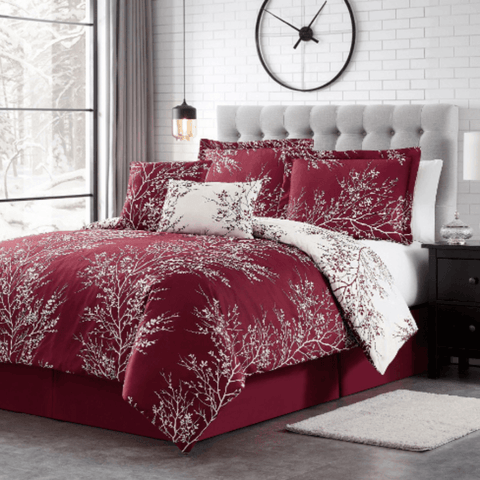 Burgundy Foliage Reversible Comforter Set + Two Free Sham Pillows - Spirit Linen