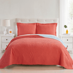 Coral Madison Quilt Reversible Collection + Two Free Sham Pillows - Spirit Linen