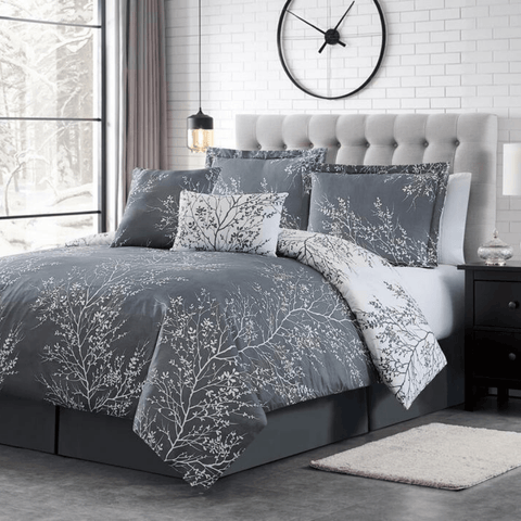 Grey Foliage Reversible Comforter Set + Two Free Sham Pillows - Spirit Linen