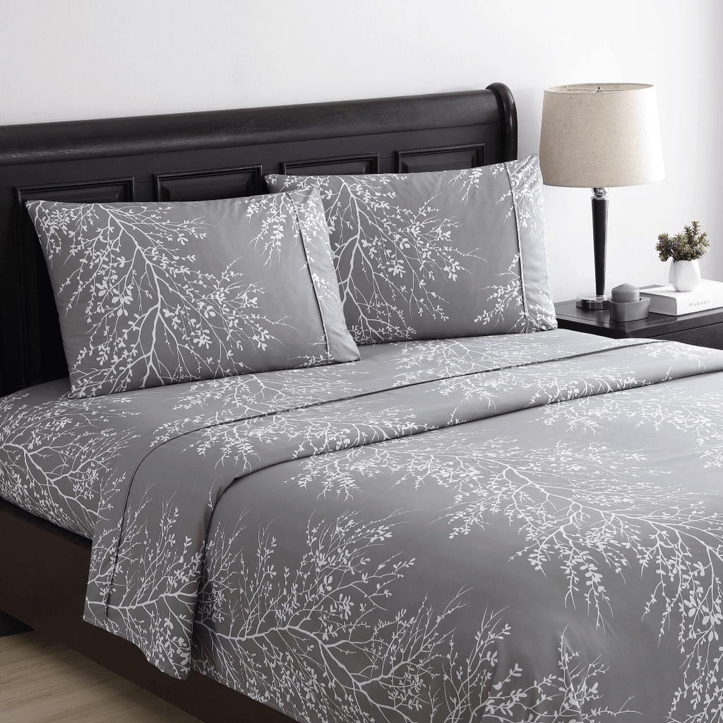 Grey White Premium Foliage Sheet Bedding Set Spirit Linen