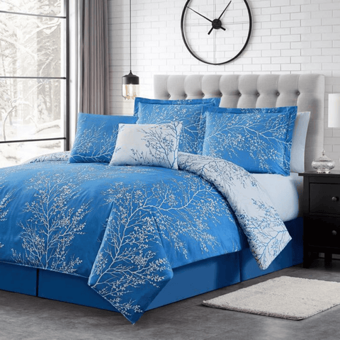 Light Blue Foliage Reversible Comforter Set + Two Free Sham Pillows - Spirit Linen