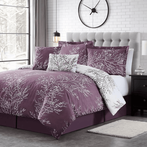 Lilac Foliage Reversible Comforter Set + Two Free Sham Pillows - Spirit Linen