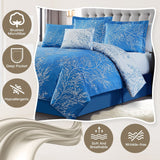 """Luxury Light Blue"" 6 Piece Foliage Reversible Comforter Set - Spirit Linen"