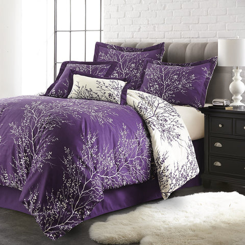 """Luxury Purple"" 6 Piece Foliage Reversible Comforter Set - Spirit Linen"