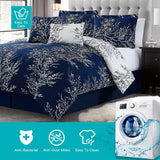 Navy Blue Foliage Reversible Comforter Set + Two Free Sham Pillows - Spirit Linen