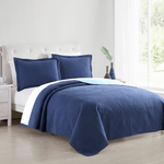 Navy Blue Madison Quilt Reversible Collection + Two Free Sham Pillows - Spirit Linen