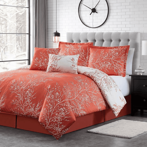 Pink Coral Foliage Reversible Comforter Set + Two Free Sham Pillows - Spirit Linen