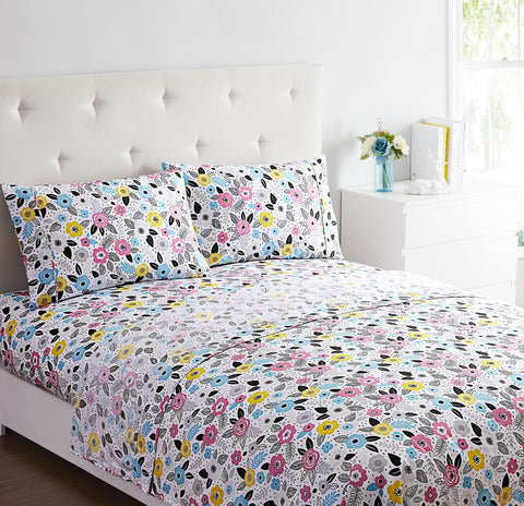 """Pink Yellow Floral"" Amsterdam Exclusive Bed Sheets - Spirit Linen"