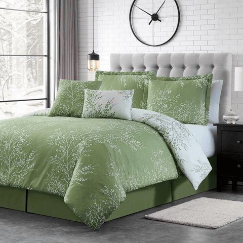Sage Foliage Reversible Comforter Set + Two Free Sham Pillows - Spirit Linen