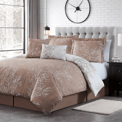 Taupe Foliage Reversible Comforter Set + Two Free Sham Pillows - Spirit Linen
