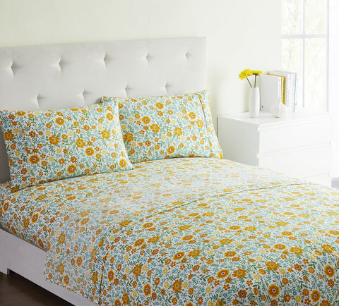 """Yellow Floral"" Amsterdam Exclusive Bed Sheets - Spirit Linen"