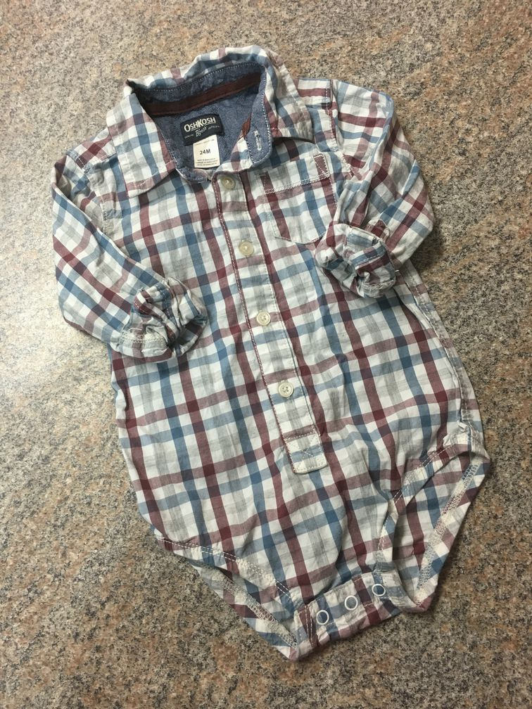 Oshkosh maroon blue gray checkered bodysuit sz 24 months EUC