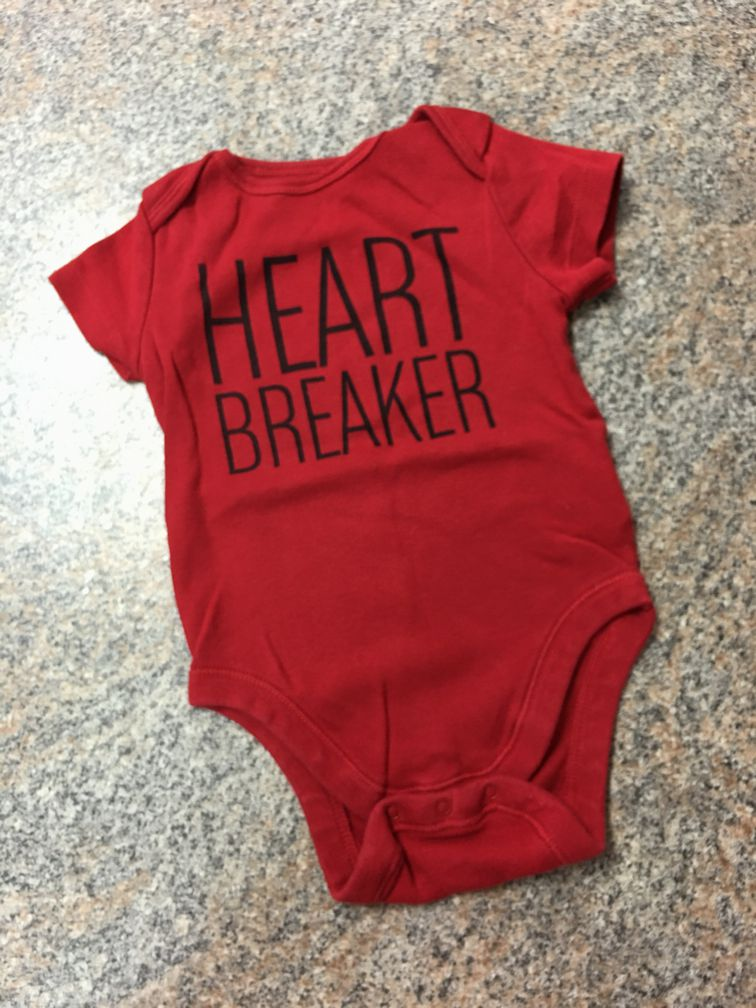 Old Navy red black heart breaker bodysuit sz 6-12 months EUC