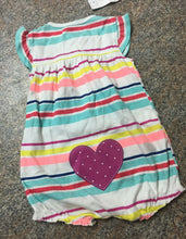 Load image into Gallery viewer, Carter's pink blue yellow striped heart bottom romper sz 9 months NWT