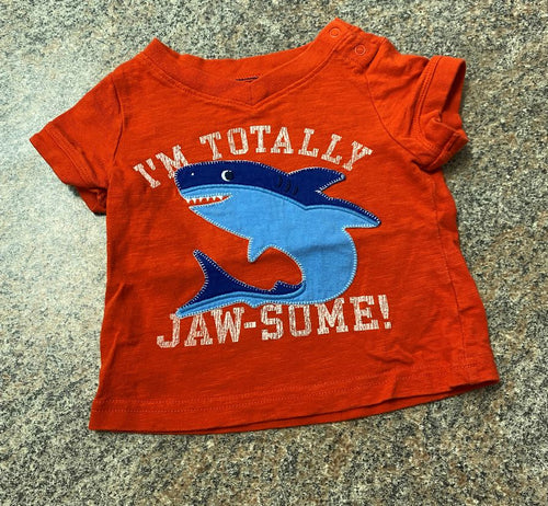 Old Navy orange blue I'm totally jaw-some shark t sz 0-3 months EUC