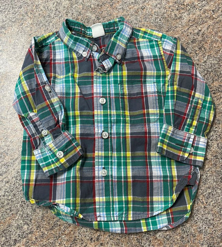 Gap green gray yellow plaid shirt sz 12-18 months EUC