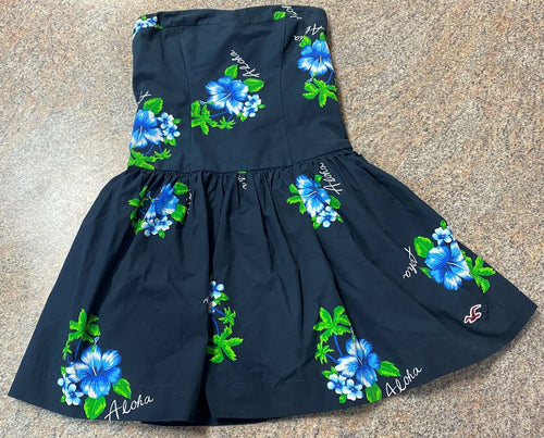 Hollister navy blue floral print aloha strapless dress sz s junior girls EUC