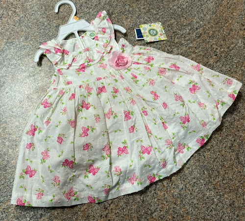 Little Me white pink butterfly print lined dress & diaper cover sz 12 months NWT